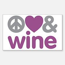 Peace Love Wine Sticker (Rectangle)