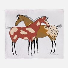 Two Horse Appaloosa & Paint Design Throw Blanket