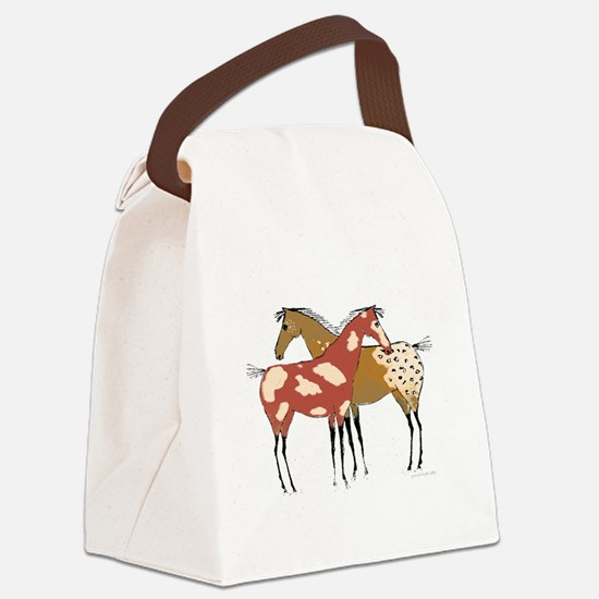 Two Horse Appaloosa & Paint Design Canvas Lunch Ba
