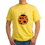 Cute Round Ladybug Yellow T-Shirt