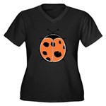 Cute Round Ladybug Women's Plus Size V-Neck Dark T