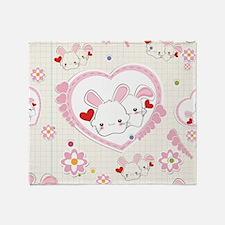 Cute Happy bunny Throw Blanket
