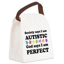 Autistic=Perfect Canvas Lunch Bag