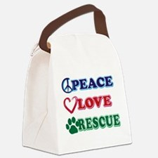 Peace Love Rescue Canvas Lunch Bag