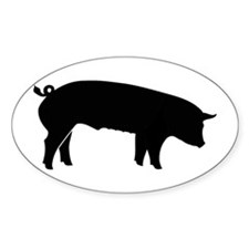 All Black Pig Oval Decal