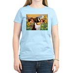 Two Angels & Saint Bernard Women's Light T-Shirt