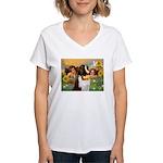 Two Angels & Saint Bernard Women's V-Neck T-Shirt