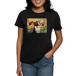 Two Angels & Saint Bernard Women's Dark T-Shirt