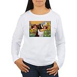 Two Angels & Saint Bernard Women's Long Sleeve T-S