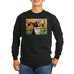 Two Angels & Saint Bernard Long Sleeve Dark T-Shir