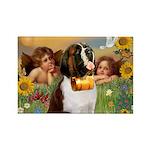 Two Angels & Saint Bernard Rectangle Magnet