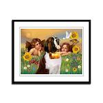 Two Angels & Saint Bernard Framed Panel Print