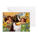Two Angels & Saint Bernard Greeting Card