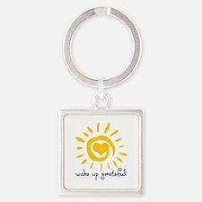 Wake Up Grateful Square Keychain