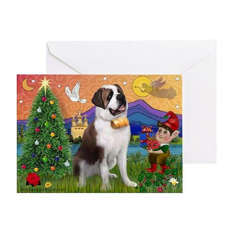 StBernard & Xmas Elf Greeting Card