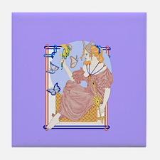flutterby moon Tile Coaster