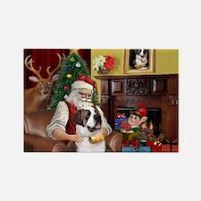 Santa's Saint Bernard Rectangle Magnet