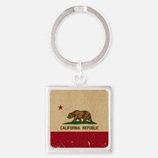 California State Flag VINTAGE Square Keychain
