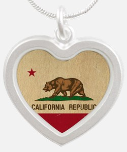 California State Flag VINTAG Silver Heart Necklace