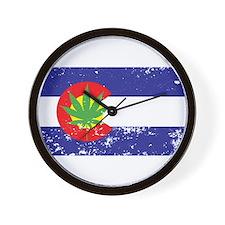 Colorado State Flag, Marijuana, Pot Leaf Wall Cloc