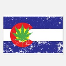Colorado State Flag, Marijuana, Pot Leaf Postcards