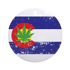 Colorado State Flag, Marijuana, Pot Leaf Ornament