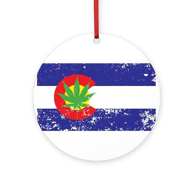 Colorado State Flag, Marijuana, Pot Leaf Ornament by ...