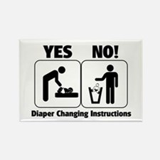 Diaper Changing Instructions Rectangle Magnet