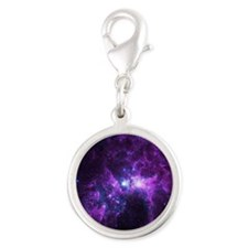 Purple Galaxy Silver Round Charm