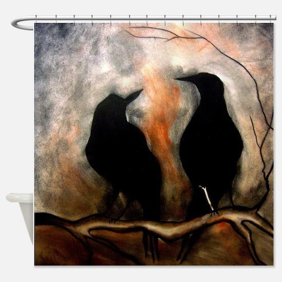 Black Birds Shower Curtain