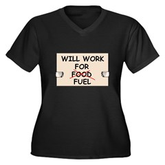 FUEL PRICE HUMOR Women's Plus Size V-Neck Dark T-S