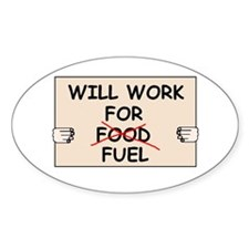 FUEL PRICE HUMOR Oval Sticker
