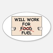 FUEL PRICE HUMOR Oval Decal