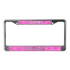 Pink Polka Dot Papillon License Plate Frame