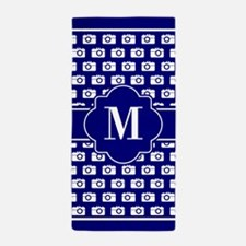 Blue and White Camera Pattern Custom M Beach Towel