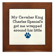 Wrapped Around His Paw (Cavalier) Framed Tile