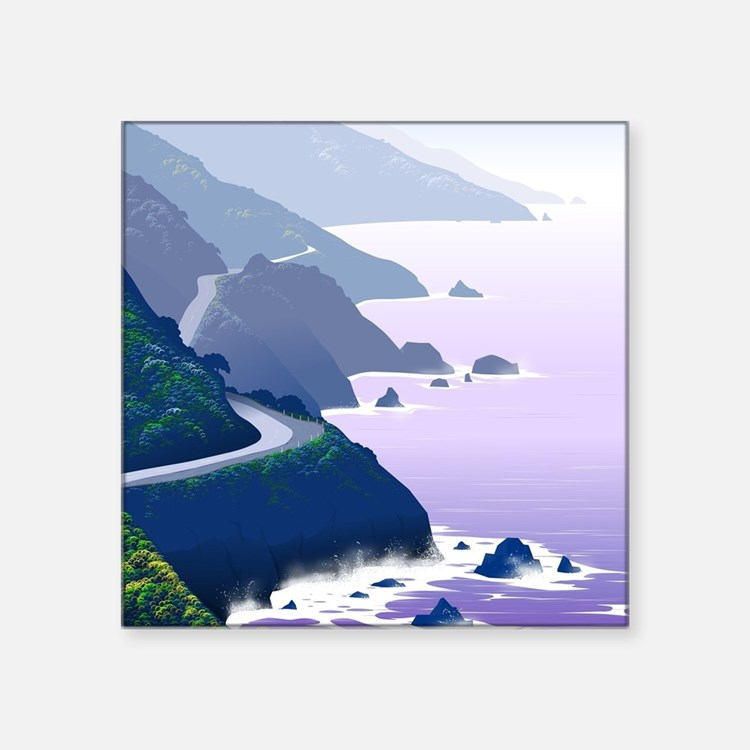 "Cute California coast Square Sticker 3"" x 3"""