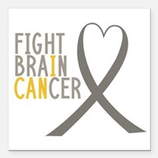 "I Fight Brain Cancer Square Car Magnet 3"" X 3"