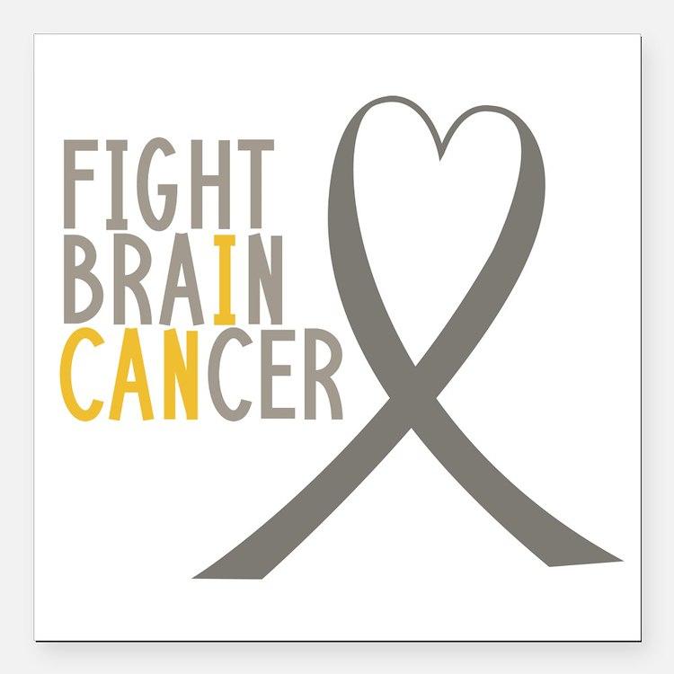 "I Fight Brain Cancer Square Car Magnet 3"" X 3"