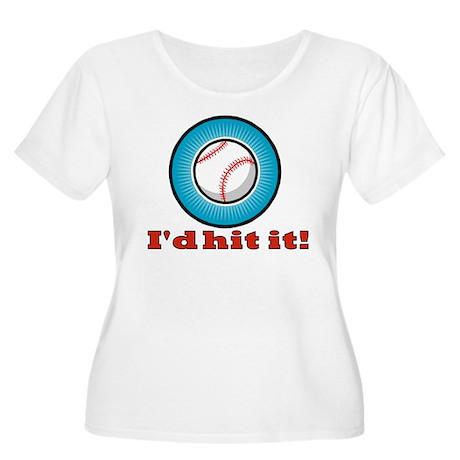 I'd hit it - baseball Women's Plus Size Scoop Neck