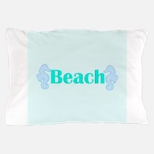 Beach in Teal Seahorses Pillow Case