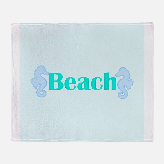 Beach in Teal Seahorses Throw Blanket