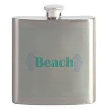 Beach in Teal Seahorses Flask