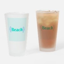 Beach in Teal Seahorses Drinking Glass