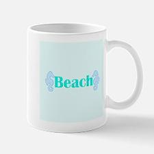 Beach in Teal Seahorses Mugs