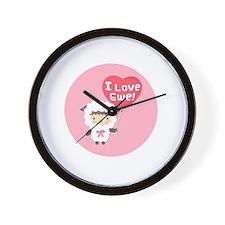I love Ewe Cute Sheep Pun Humor Wall Clock