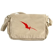 Pterodactyl Silhouette (Red) Messenger Bag