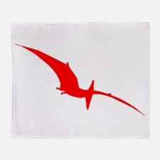 Pterodactyl Silhouette (Red) Throw Blanket