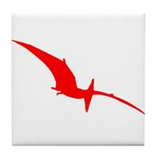 Pterodactyl Silhouette (Red) Tile Coaster