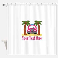 Personalizable Beach Pink Car Shower Curtain